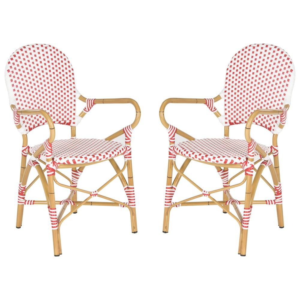 Image of 2pc Biarritz Wicker Patio Arm Chair - Red/White - Safavieh