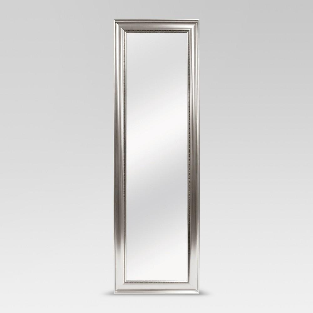 Beaded Leaner Floor Mirror Silver