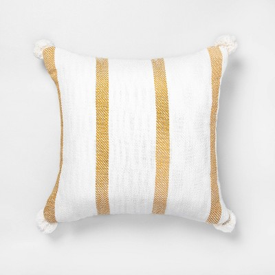 """18"""" x 18"""" Bold Stripes Throw Pillow Yellow - Hearth & Hand™ with Magnolia"""