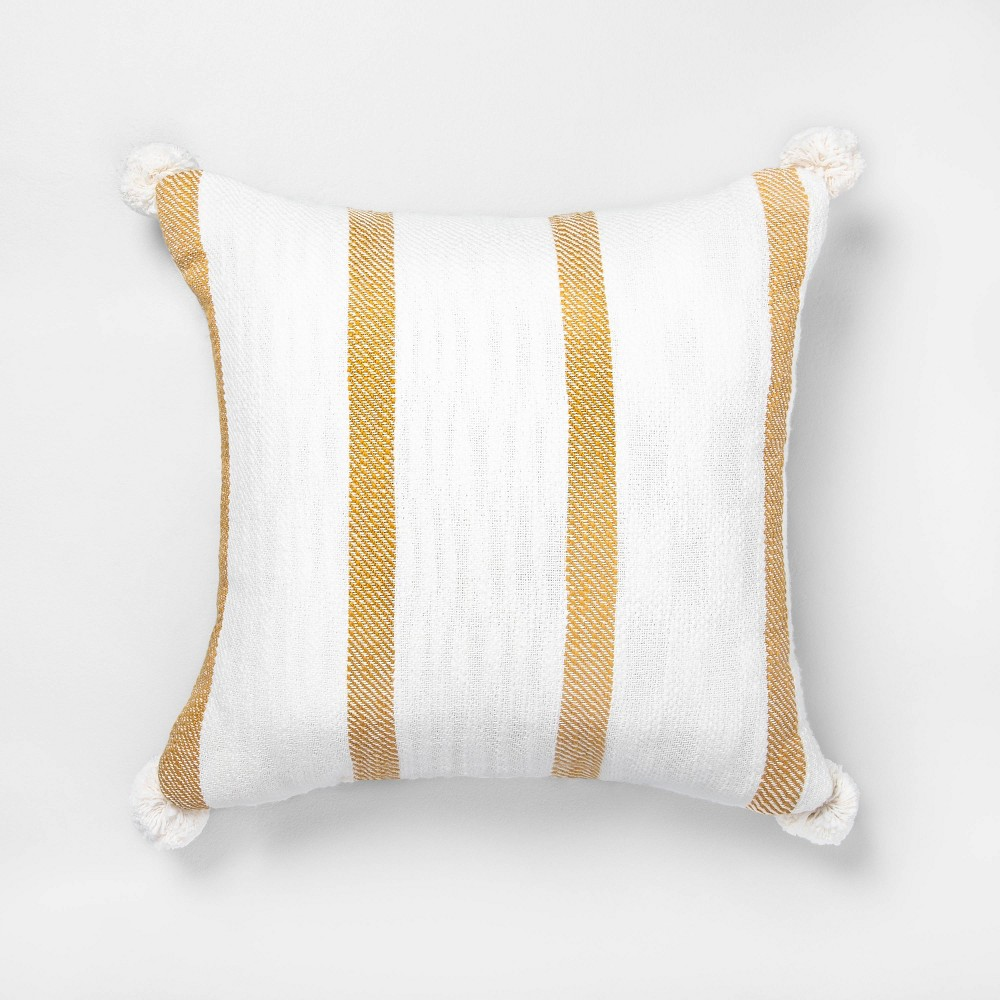 "Image of ""18"""" x 18"""" Bold Stripes Pillow Yellow / Sour Cream - Hearth & Hand with Magnolia"""