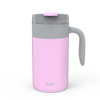 Zak Designs Aberdeen Stainless Steel Double Wall Vacuum Insulated with Handle and Leak Proof Flip Top 20 oz. Coffee Mug