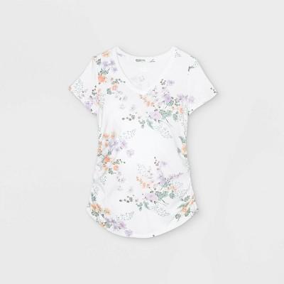 Maternity Floral Print Short Sleeve V-Neck Side Shirred T-Shirt - Isabel Maternity by Ingrid & Isabel™ White XXL