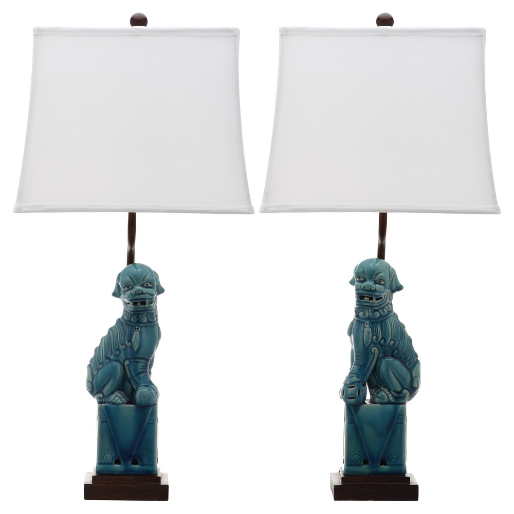Image of Blue Ceramic Foo Dog Table Lamp Set of 2 - Safavieh