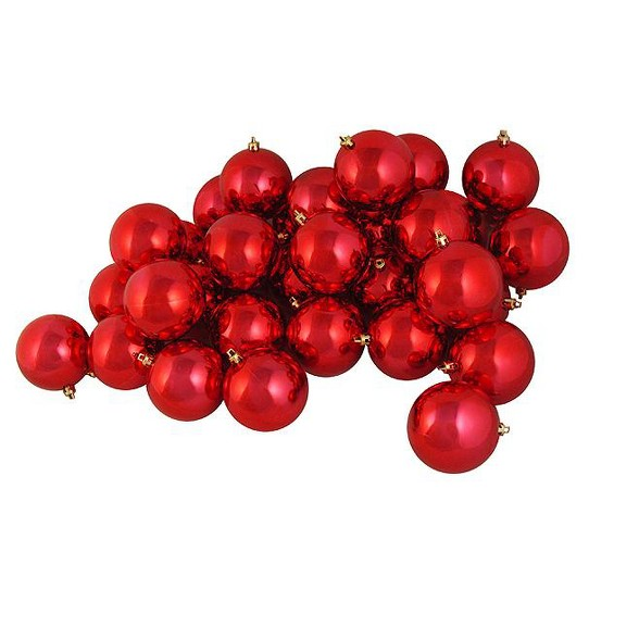 Red Christmas Ball Ornaments.Northlight 36ct Shatterproof Shiny Christmas Ball Ornament Set 4 Red