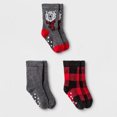 Baby Boys' 3pk Buffalo Check Bear Crew Socks - Cat & Jack™ Red 12-24M