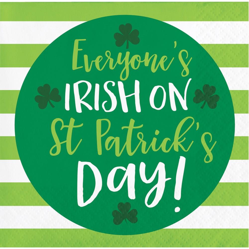 48ct St. Patrick's Day Irish Beverage Napkins Green