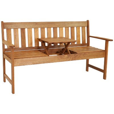 """Sunnydaze Outdoor Meranti Wood with Teak Oil Finish 2-Person Bench Seat with Pop-Up Table - 60"""" - Brown"""
