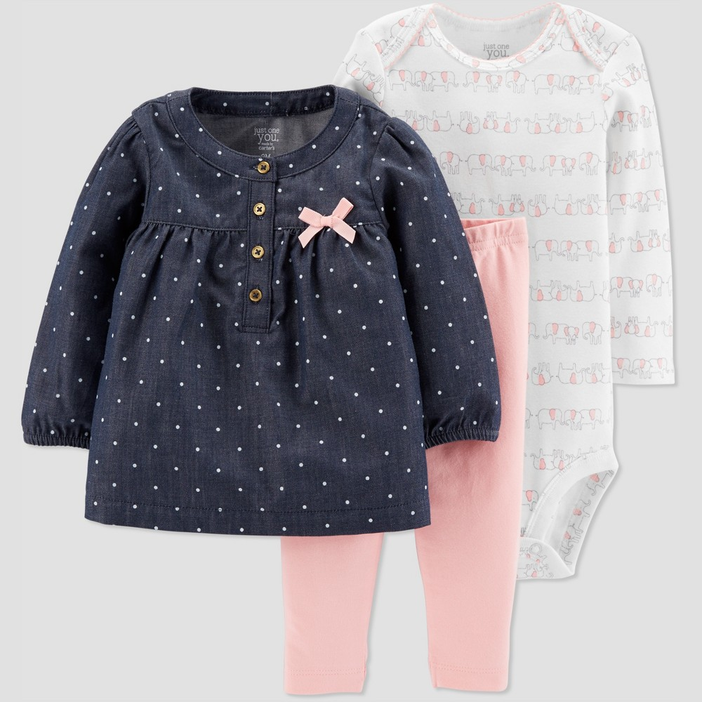 Baby Girls' Elephant 3pc Set - Just One You made by carter's White 3M