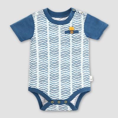 Burt's Bees Baby Boys' Organic Cotton Chevron Bodysuit - Blue 18M