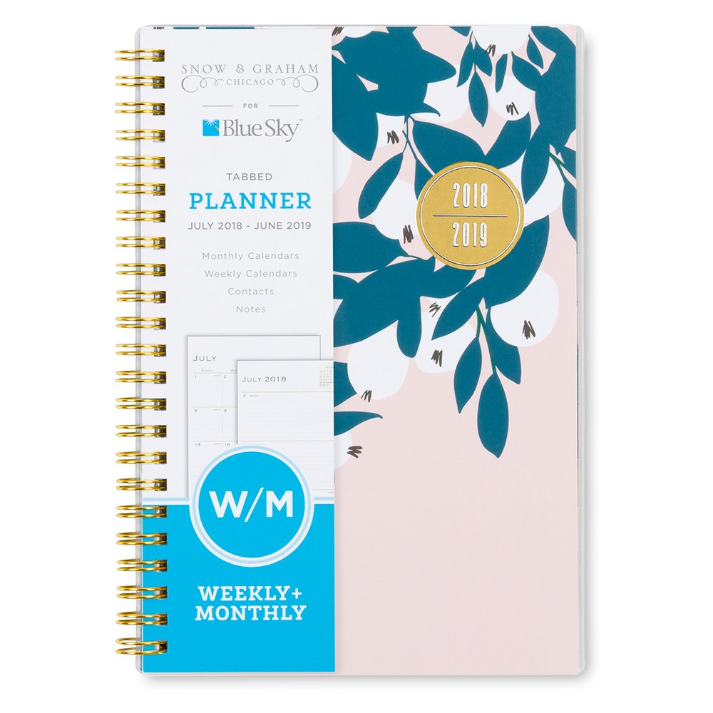 2018-19 Academic Planner 8x 5 Pink & Blue Print - Blue Sky, Multi-Colored