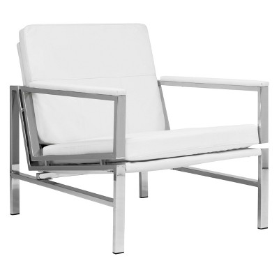 Atlas Mid-Century Modern Living Room Accent Chair with Bonded Leather and Metal Frame - Studio Designs Home