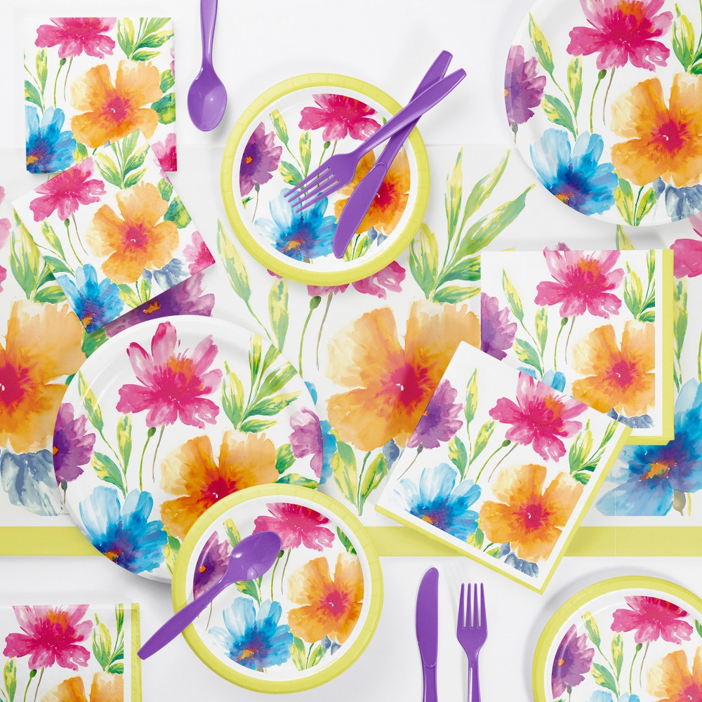 Watercolor Floral Party Supplies Kit