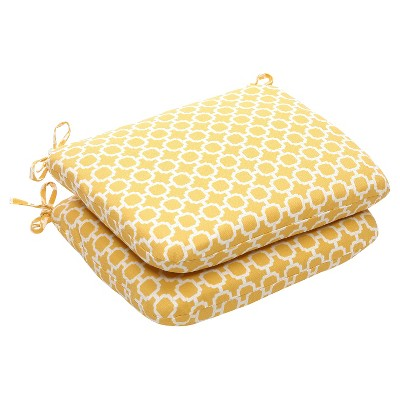 Outdoor 2 Pc Chair Cushion Set - Yellow/White Geometric - Pillow Perfect