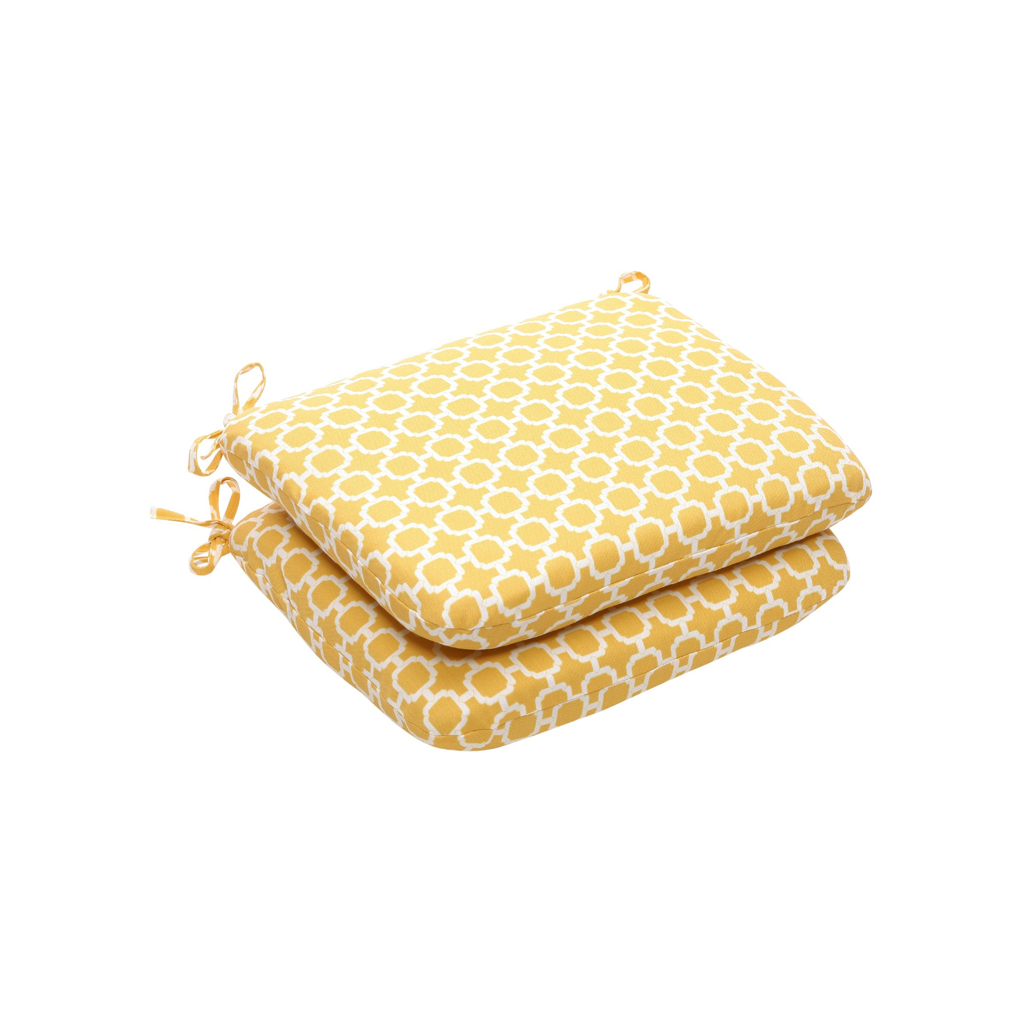 Outdoor 2 Pc Chair Cushion Set - Yellow/White Geometric - Pillow Perfect