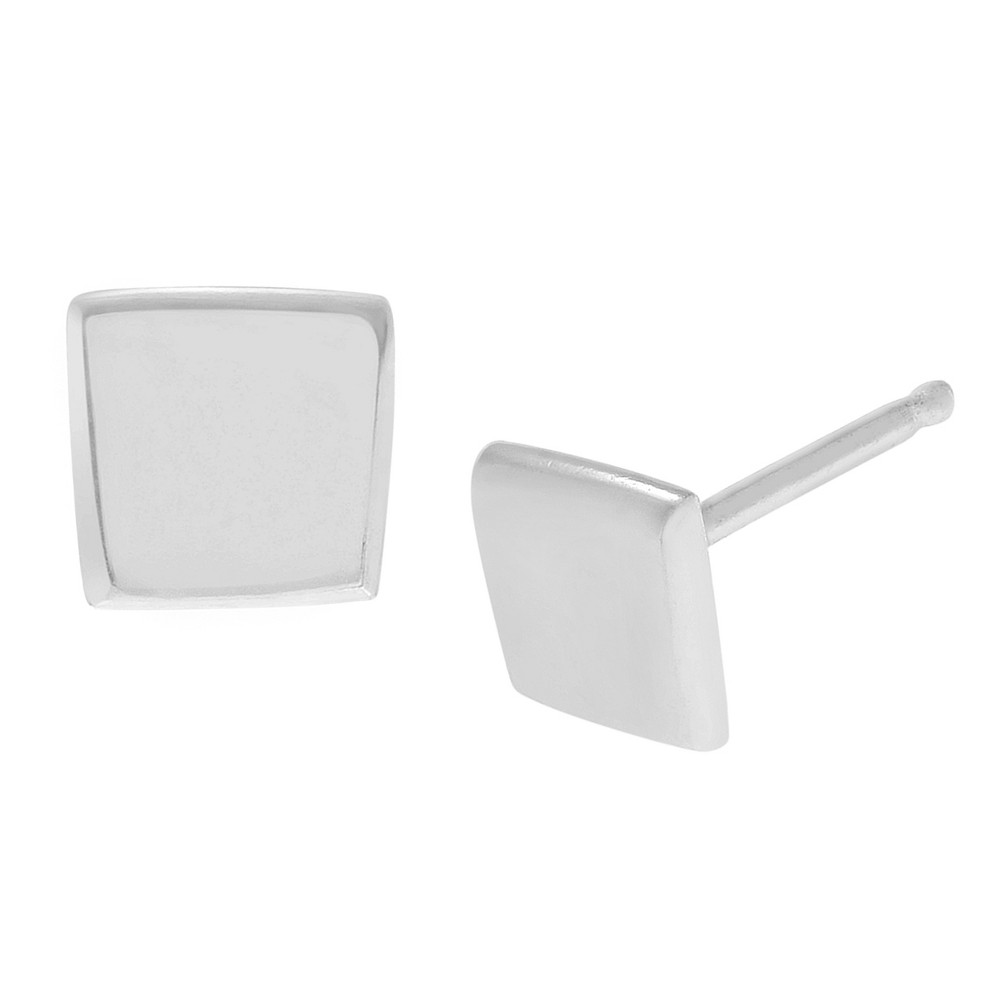 Women's Journee Collection Shaped Stud Earrings in Sterling Silver - Silver, Square, Size: Small