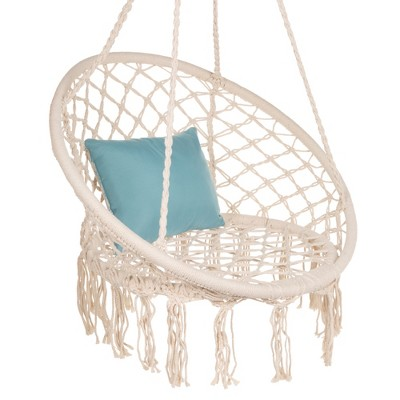 Best Choice Products Handwoven Cotton Macrame Hammock Hanging Chair Swing for Indoor & Outdoor Use w/ Backrest - Beige