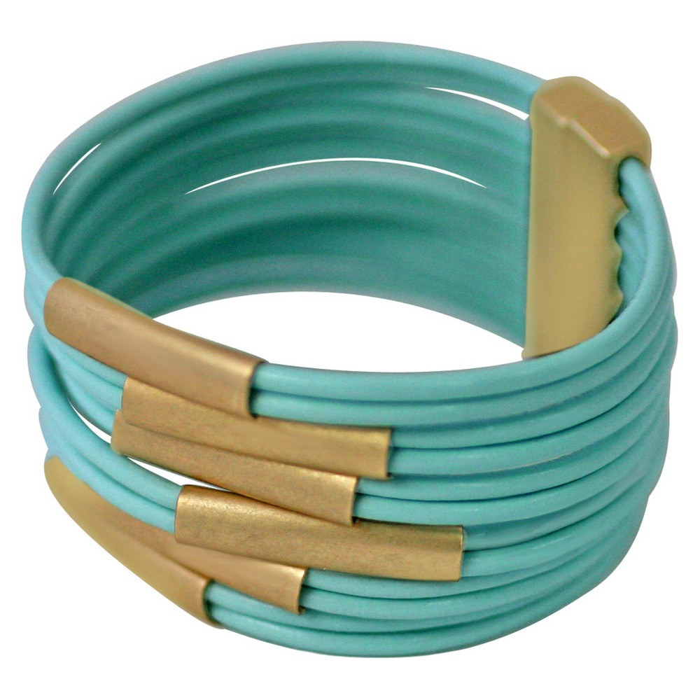 Zirconite Multi-Strand Genuine Leather Cuff Bracelet with Tube Bars – Gold/Mint Green, Women's, Green Green