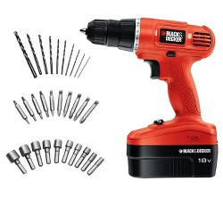 BLACK+DECKER 18v Cordless Power Drill/Driver With 30 Bonus Accessories