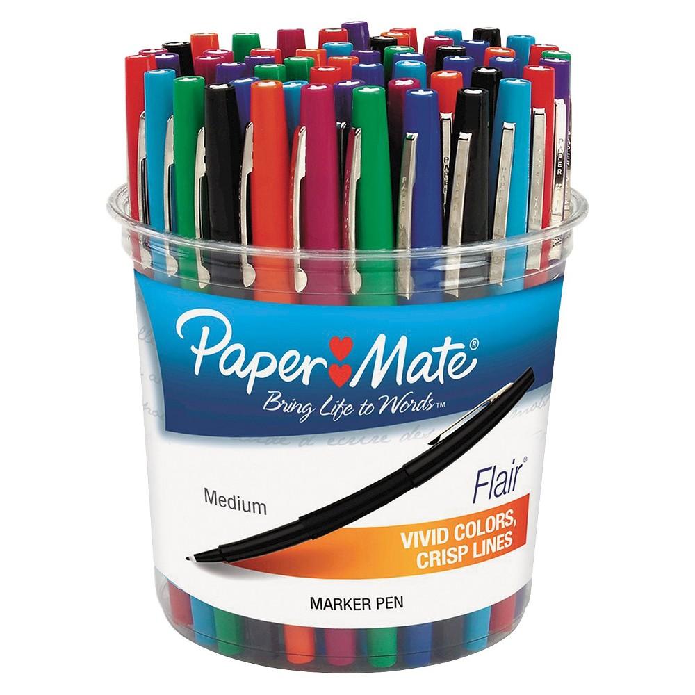 Image of Paper Mate Flair Felt Tip Marker Pen, Assorted Ink, Medium, 48 Pens/Set
