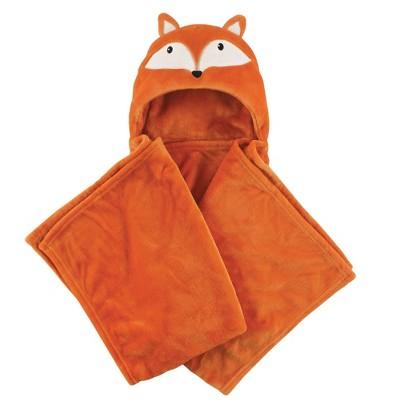 Hudson Baby Unisex Baby and Toddler Hooded Animal Face Plush Blanket - Orange Fox One Size