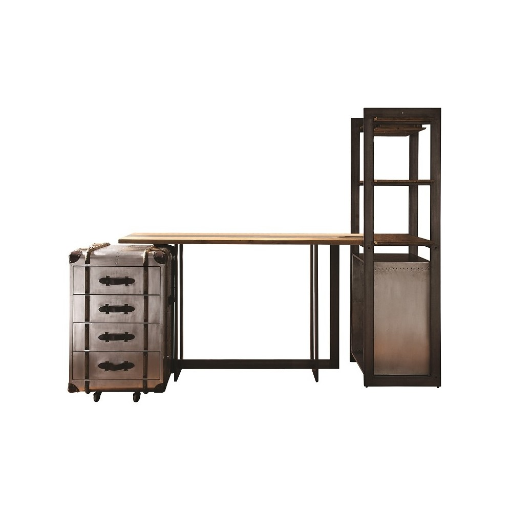 Acme Furniture Brancaster Bar Table Set Vintage Brown/Aluminum