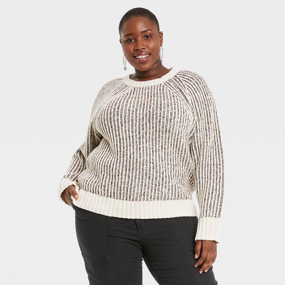 Women 39 S Plus Size Crewneck Pullover Sweater Universal Thread 8482 Cream 1x