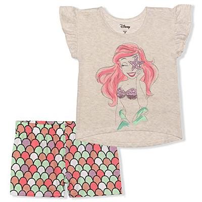 Girl's 2-Pack Disney Princess Ariel Ruffle Sleeve Shirt and Mermaid Print Casual Shorts for Kids