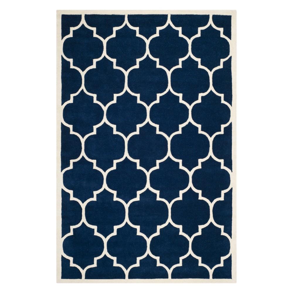 5'X8' Quatrefoil Design Tufted Area Rug Dark Blue/Ivory - Safavieh