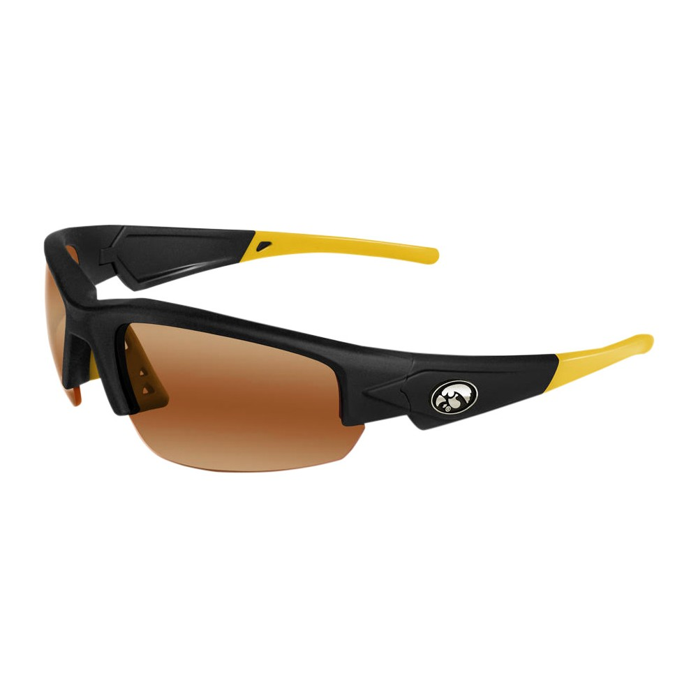 Iowa Hawkeyes Dynasty 2.0 Sunglasses, Adult Unisex The Iowa Hawkeyes Dynasty 2.0 is a sports frame sunglass for men and women of all ages. This sleek sunglass features Black Frame with Team Colored Yellow Tips and a HD Polarized lens. Raised metal Iowa Hawkeyes logos on each temple round out this Team first sunglass while allowing no peripheral distortion for all outdoor activities. Gender: Unisex. Age Group: Adult. Pattern: Solid.