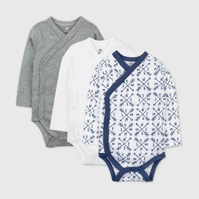 Honest Baby Boys' 3pk Compass Organic Cotton Long Sleeve Kimono Bodysuit - Navy Newborn