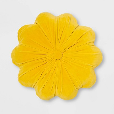 Round Velvet Flower Pillow Yellow - Opalhouse™