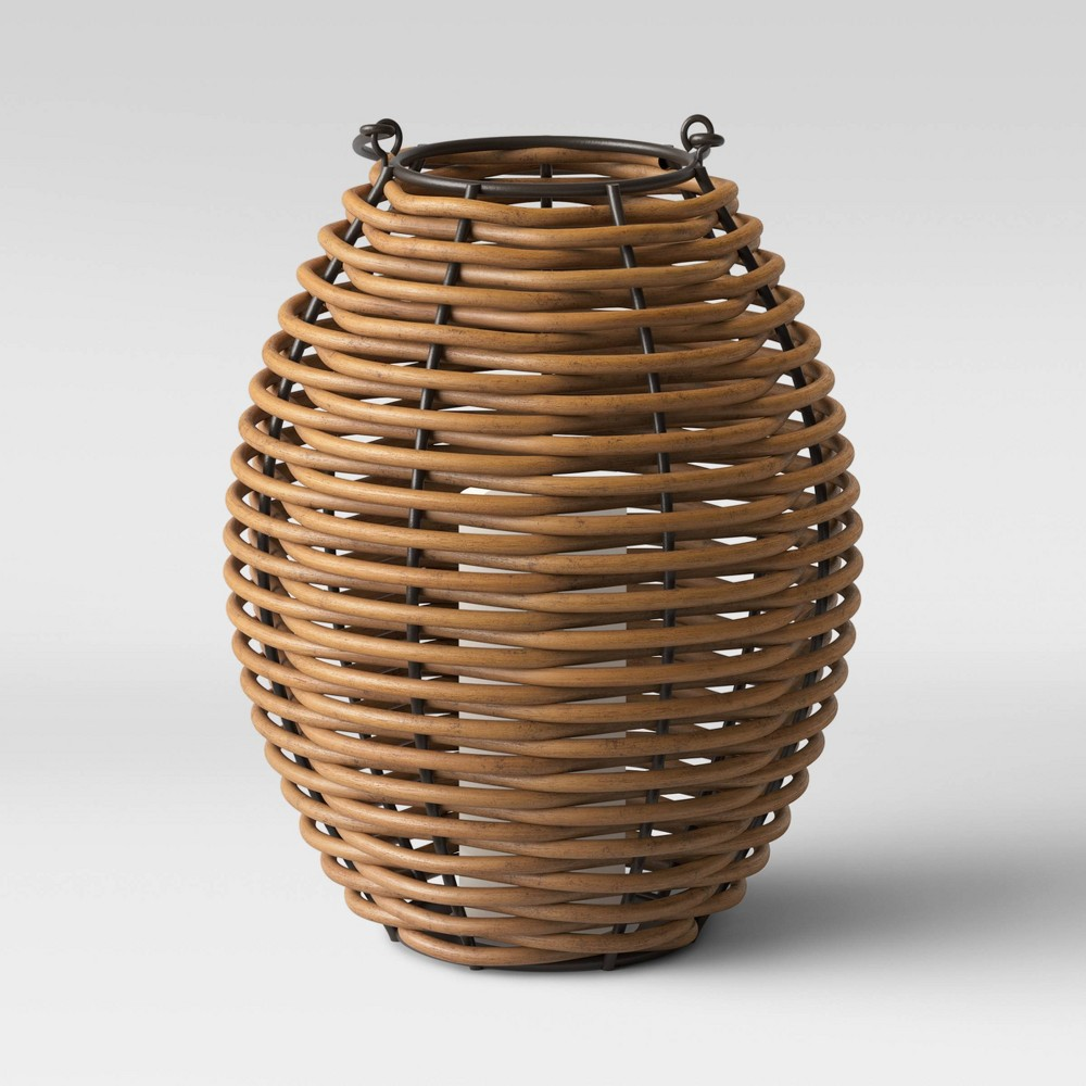 "Image of ""13"""" Small Woven Outdoor Lantern Natural - Smith & Hawken"""