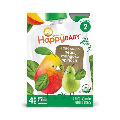 HappyBaby 4pk Organic Pears Mangos & Spinach Baby Food Pouch - 16oz