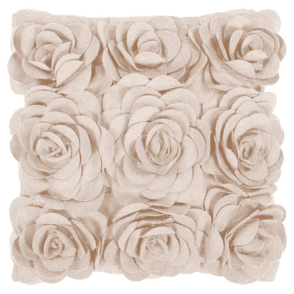 Beige Adama Flower Throw Pillow 22