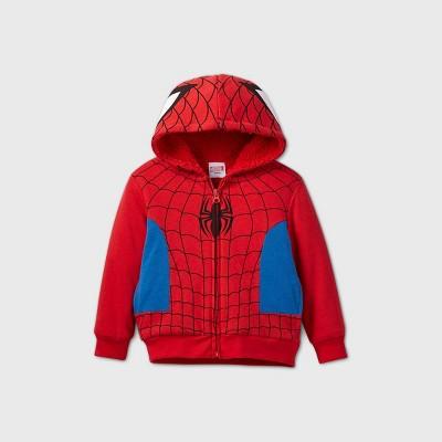 Toddler Boys' Spider-Man Sherpa Lined Zip-Up Fleece Hoodie - Red