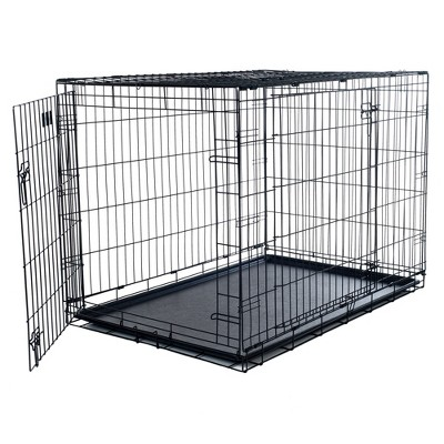 """Pet Adobe Large 2-Door Foldable Metal Dog Crate - Pet Cage with Divider Panel - 36"""" x 23"""""""