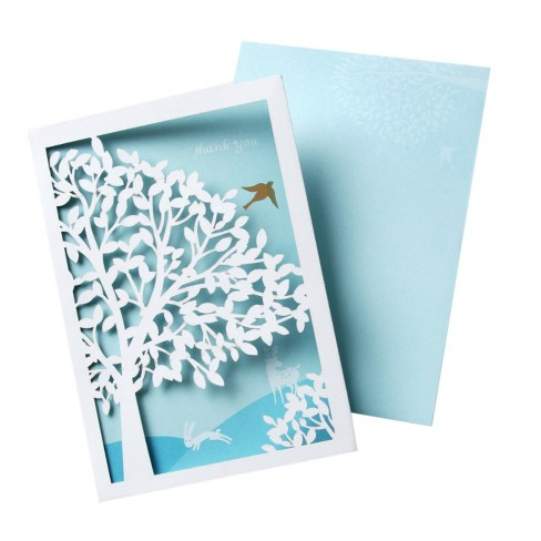 10ct Thank You Cards with Laser Cut Tree and Bird - image 1 of 1
