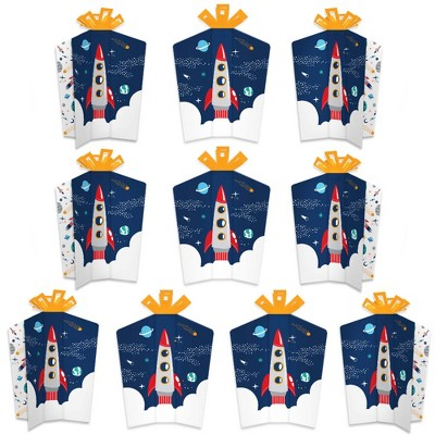 Big Dot of Happiness Blast Off to Outer Space - Table Decorations - Rocket Ship Baby Shower or Birthday Party Fold and Flare Centerpieces - 10 Count