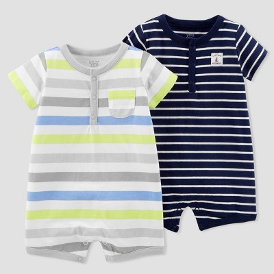 Baby Boys' 2pk Stripe Romper Set - Just One You® made by carter's Blue Newborn
