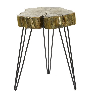 Modern Polystone and Metal Accent Table Gold - Olivia & May