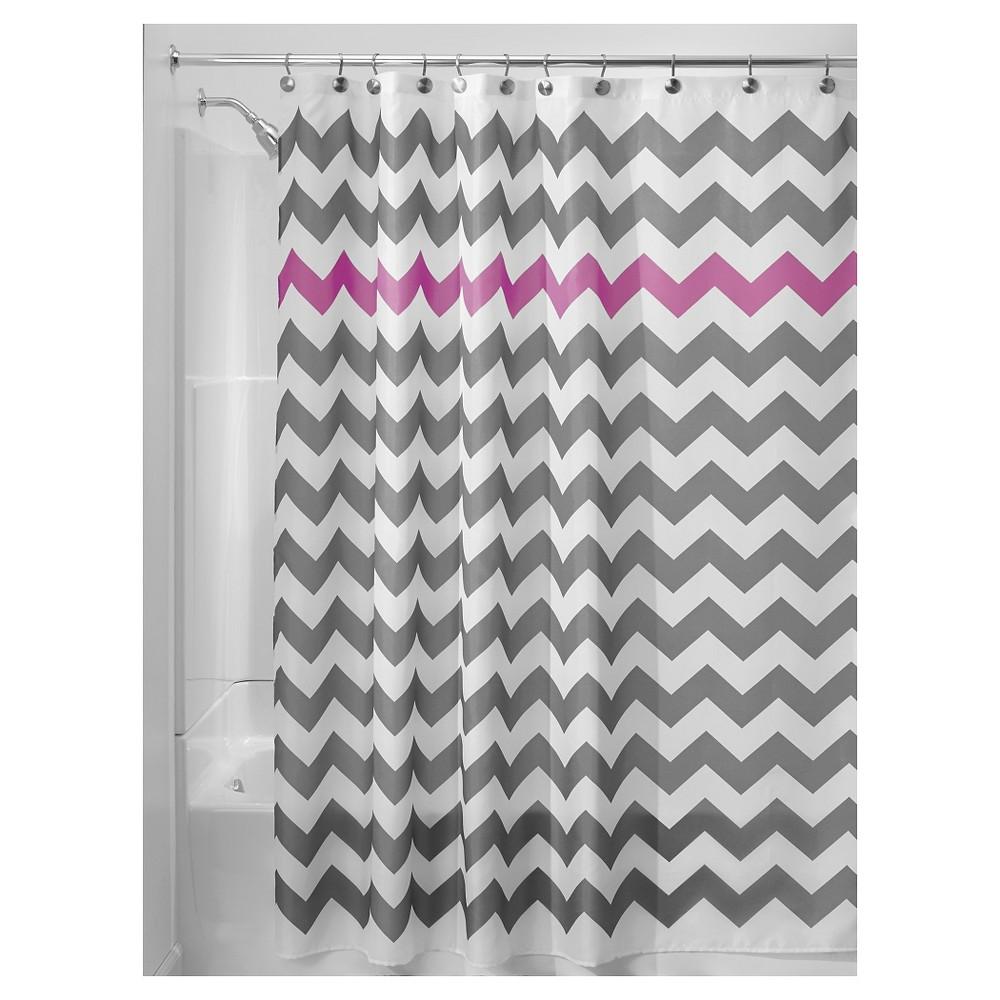 Shower Curtain Polyester Chevron Standard Gray/Purple - InterDesign