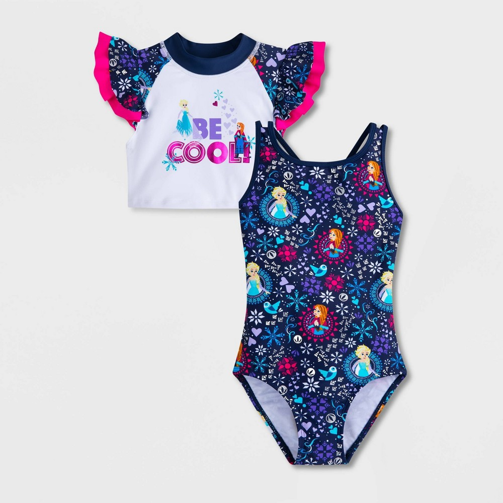 Image of Girls' Disney Frozen 2 One Piece Swimsuit Sets - Blue 10, Girl's