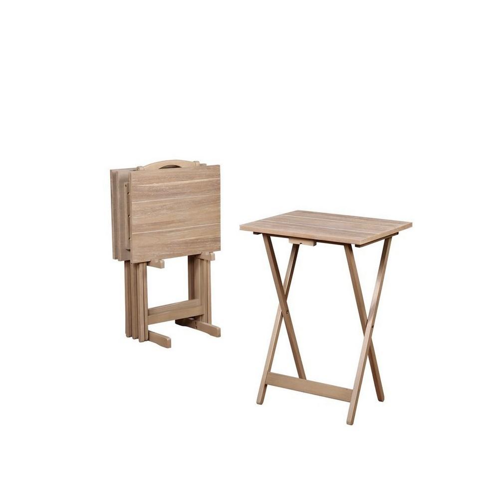 Image of Acacia Tray Table Set Gray - Linon