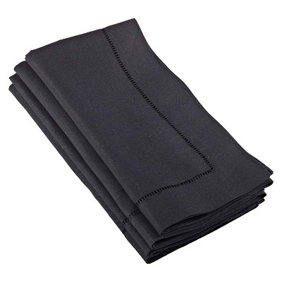 Hemstitched Dinner Napkins Black (Set of 4)