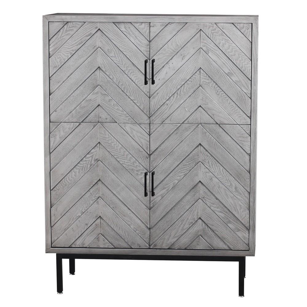 Wooden/Metal 4 Door Cabinet Gray - Home Source Industries