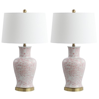 Set of 2 Calli Table Lamps Pink/White (Includes LED Light Bulb)- Safavieh