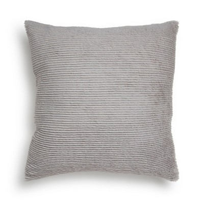 "18""x18"" Square Ribbed Plush Throw Pillow Gray - Room Essentials™"