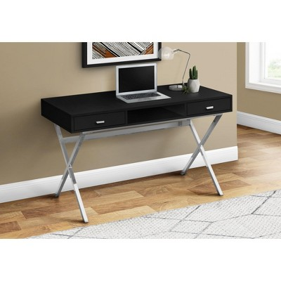 "Monarch Specialties Laptop Table with Drawers and Open Shelf Computer, Writing Desk, Metal Sturdy Legs, 48"" L"