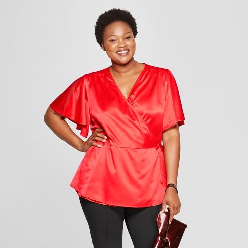 f8e916b92c1 Women s Plus Size Satin Wrap Short Sleeve Top - Ava   Viv™   Target