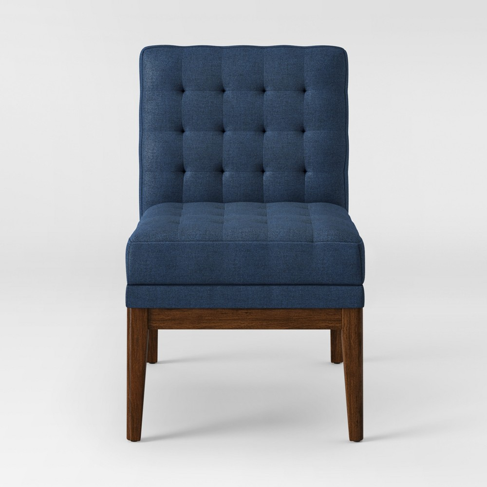 Newark Tufted Slipper Chair with Wood Base Navy (Blue) - Project 62